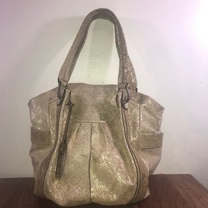B. Makowsky Tan And Gold Embossed Leather Bag